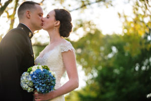 bride and military groom